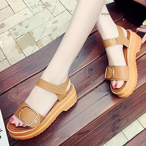 RUGAI-UE Magic Girl sandali estivi scarpe piatte fibbia studente scarpe alla moda Light Brown