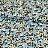 Baumwollstoff Auto Bus hellblau Modestoffe - Preis gilt