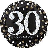 paduTec Heliumballon Zahlenballon Ballon Folienballon - Glamour 30 Jahre Alter - Happy Birthday Geburtstag Jubiläum Deko - mit Helium gefüllt