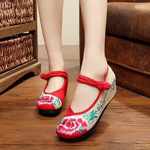 DESY scarpe ricamate, biancheria, suola tendine, stile etnico, scarpe femminili, di moda, comodo, pendenza Aumento Red