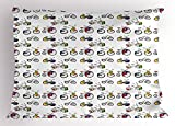 Ambesonne Bicycle Pillow Sham, Hand Drawn Penny Farthing Tandem and City Bikes