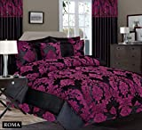 Royal Damask Super King Size Duvet Cover Set Black Purple Bedding 260x220cm +2pillowcses 50x75cm