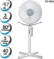 TZS First Austria - 50 Watt 40cm Standventilator extra leise max. 57dB | Ventilator 3 Geschwindigkeitsstufen | verstellbarer Neigungswinkel in 3 Stufen | oszillierend | höhenverstellbar bis 118cm weiß