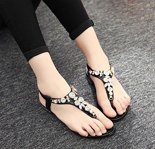 Strand Black beil盲ufige Sandalen Frauen Xia mit Jiping Sandalen Strass weibliche EqHgtwcz