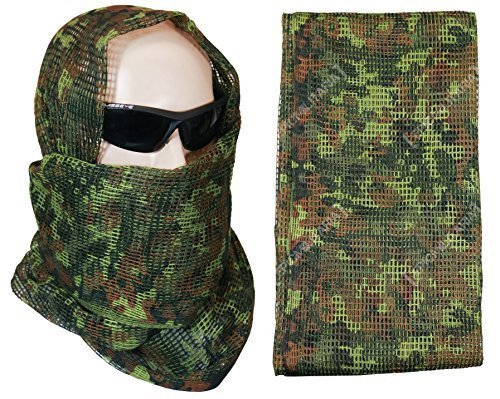Tactical Camo Pattern Military Netting Scarf - Army Style Scrim Net Patrol Head Wraps with Camouflage Option (Flecktarn) -