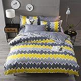 Bettwäsche-Set, Quilt-Design in Gelb und Grau, für Einzel- und Doppelbetten erhältlich, gelb, Double(Duvet Cover Set)
