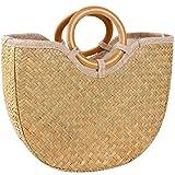 Gaeruite Natural chic intrecciato a mano maniglia rotonda maniglia borse, paglia spiaggia borse, intrecciato a mano bag Summer Tote Weave Round borse shopper cestino Pocket Outdoor Bags