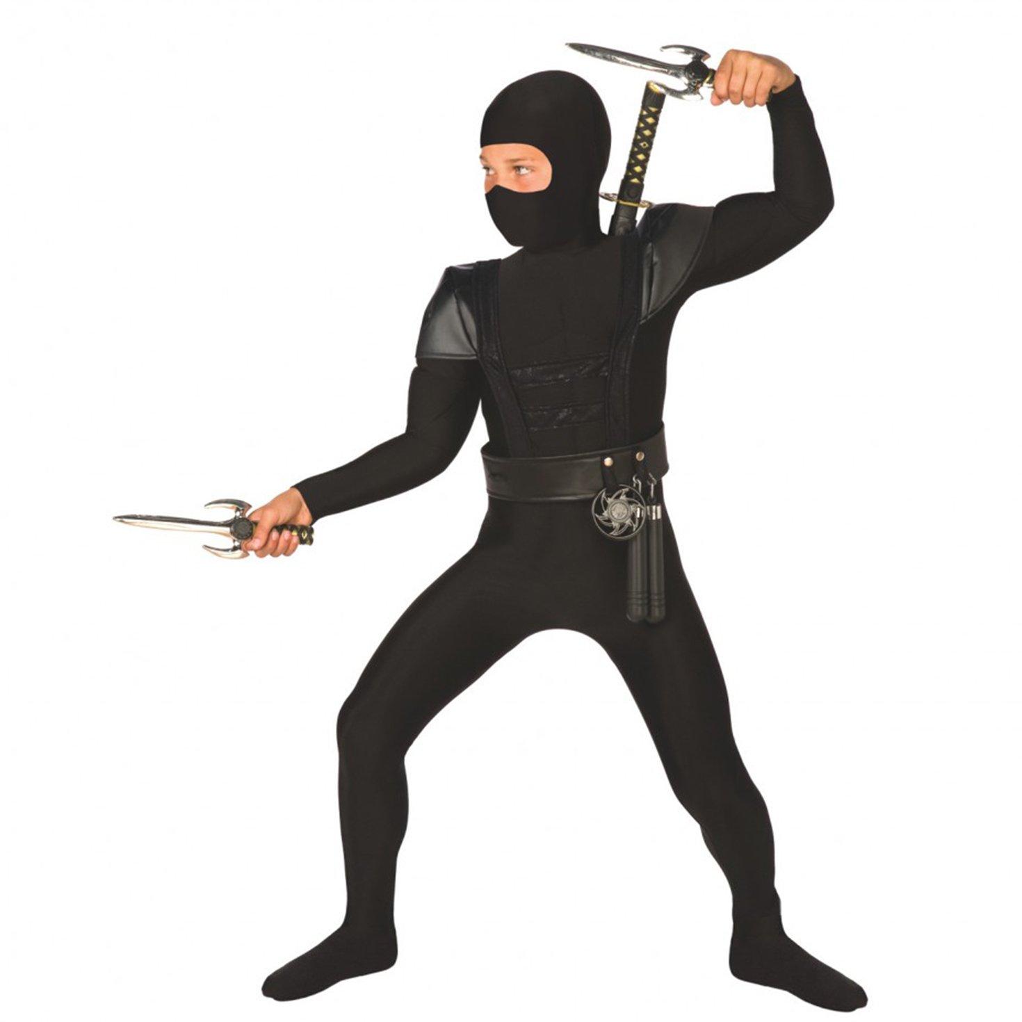 Kinder-Ninja-Kostm-Schwarz-Kung-Fu-Kleidung-fr-Jungen-und-Mdchen-Klein