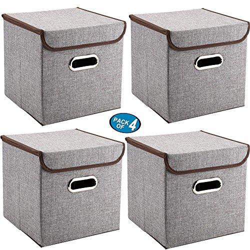 Griffe Aufbewahrungsboxen Mee\'life 4-Pack Leinen Stoff Faltbare Korb Würfel Organizer Boxen Container Schubladen mit Deckel und Griffe für Büro Kinderzimmer Schlafzimmer Shelf Grey