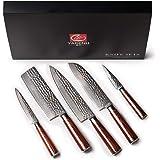 YARENH 5 Pièces Set Couteau Cuisine Professionnel,Couteaux en Acier Japonais Damas Acier,Set Couteaux Cuisine Damas Japonais