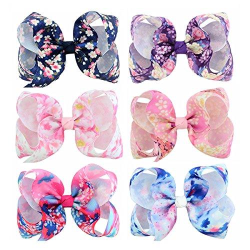 ECYC® 6pcs / lot Blumendruck-Grosgrain-Band-Bogen mit Klipp für Kindermädchen (Bögen Für Haar-für Teens)
