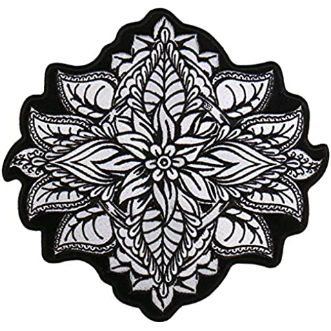 Hot Leathers, HENNA FLOWER, High Thread Embroidered Iron-On / Saw-On Rayon PATCH - 8