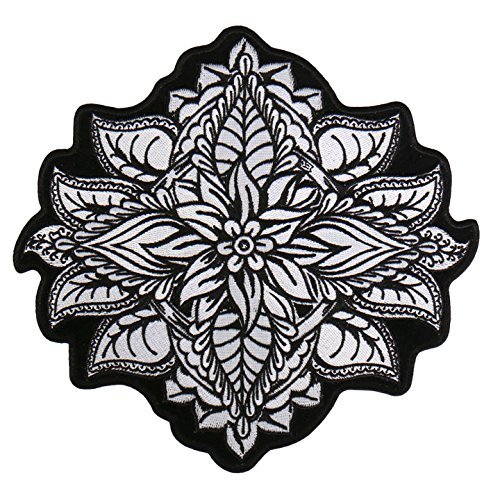 HENNA FLOWER, High Thread Embroidered Iron-On / Saw-On Rayon PATCH - 4