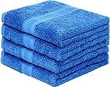 leevitex 4er Pack Frottier Handtücher Set 50x100cm - Qualität 500 g/m² - 100% Baumwolle in 19 modernen Farben (Royalblau/Königsblau)