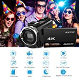 Andoer 4K 1080P 48MP WiFi Digital Video Camera Camcorder Recorder with Novatek 96660 Chip 3inch Capacitive Touchscreen IR Infrared Night Sight 16X Zoom Cold Shoe Support External Microphone