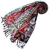 Lorenzo Cana Marken Pashmina Damen Schal Schaltuch Stola Umschlagtuch Naturfaser opulentes Muster in harmonischen Farben mit Fransen Fraunschal 70 cm x 200 cm - 78155