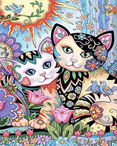Qiulv Coloré Chat Diamant Peinture Multicolor DIY 5D Cristal Plein Percer Résine Couple Animal Photo Croix Point Arts Artisanat Mur Autocollants,Squarediamond,80 * 100Cm
