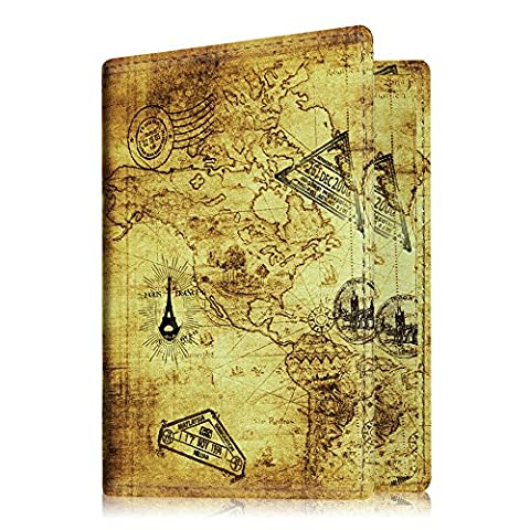 Fintie Passport Holder Protector, PU Leather Passport Cover Case with Wallet for Credit Card, Business Cards, Boarding Passes, EUIC Card, EHIC Card, Medical Card - Vintage Map