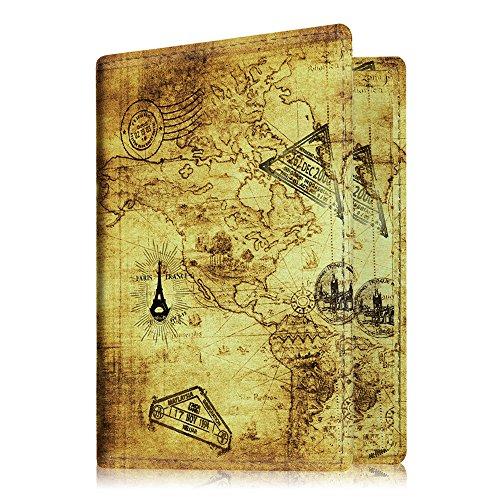Fintie Porte-passeport Housse - Voyage Protecteur Porte-feuille Pochette étui de protection pour passeport, Vintage Map
