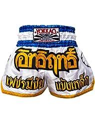 """'yokkao Muay Thai Pantalones Cortos """"Blade Runner Color Blanco, hecha de satén, color blanco, tamaño L (30"""")"""