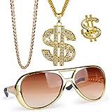 FLOFIA Set Accessori Rapper Costume Hip Hop Collana Dollaro + Collana Piatta Oro + Anello Dollaro + Occhiali Hip Hop Travesti