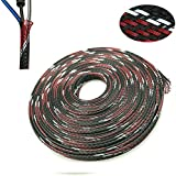 """PET Expandable Braided Sleeve Blackredwhite Cable Management Sheath For Home Office Wire Organizer 25ft-1/4"""""""