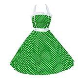 shoperama 50er Jahre Rockabilly-Kleid Kathy Grün/Weiß Vintage Punkte 50's Retro Polka Dot Fifties Petticoat, Größe:40