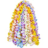eBoot 24 Stück Hawaii Blumen Halskette Hawaiikette Leis Garlands Hawaiian Bunte Silk Flower Leis Jumbo Ketten für Strand Thema Party