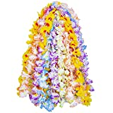 eBoot 24 Pieces Hawaiian Necklace Leis Flower Garlands Hawaiian Colorful Silk Flower Leis Jumbo Necklaces for Beach Theme Party