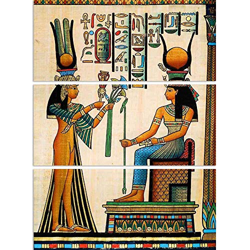 ArtzFolio Egyptian Queen Nefertari Making An Offering to Isis D2 Split Art Painting Panel On Sunboard 24 X 32Inch (Queen-size-split-box)