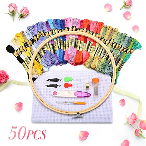 KING DO WAY 50 Stück embroidery tool set, Stickerei Starter Set,40 Stickgarn Multifarbe 1 Stickgarn 1 Stoff Stickgarn Zubehör Kreuzstich Stricken (50 pcs)