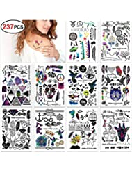 Temporäre Klebe Tattoos Flash Tattoos temporär Tätowierung Körperkunst Aufkleber Tattoos Sticker Körper Schmuck für Urlaub Geschenk Mädchen und junge Frauen (10 fogli)