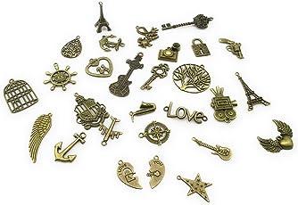 Satyam Kraft Vintage Assorted Pendants Charms (30 Piece)