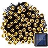 Qedertek Energía Solar 100 LED 12m Cadena de luces Impermeable de 8 Modos de Luces Navideño para Exterior, Hogar, Patio, Jardín, Terraza, Balcón, Fiesta, Navidad, Boda Blanco Calido