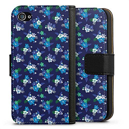 Apple iPhone X Silikon Hülle Case Schutzhülle Flower Blumen Muster Sideflip Tasche schwarz