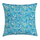 Floral Throw Pillow Cushion Cover, Funky Flowers Mixed Bouquet Beauty Shabby Chic Feminine Inspired Pattern, Decorative Square Accent Pillow Case, 18 X 18 inches, Sky and Violet Blue