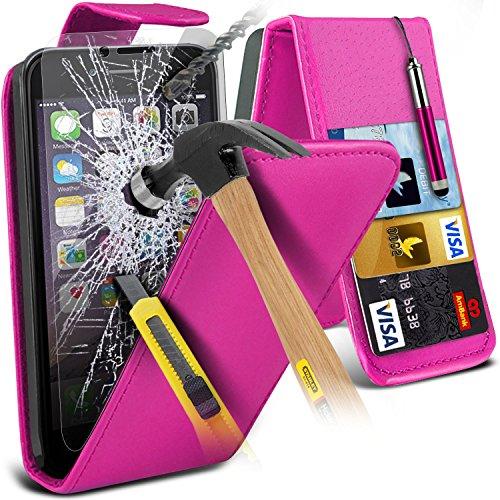 Aventus ( Orange ) Apple iPhone 6S Case Protective Elegant Dura prova Survivor duro Rugged Shock Heavy Duty Case W / basamento della parte posteriore, vetro Temperato schermo LCD proteggi, Panno e Min Leather Flip + Tempered ( Hot Pink )