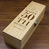 English Pewter Company Sheffield, England Unique Personalised 50th Birthday Gift - Luxury Wooden Wine or Champagne Box Satin
