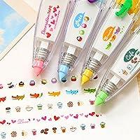 Saflyse 4pcs Korrekturband Dekorationsstift Malerei Stift Korrekturband Schöne Muster für Kinder DIY & Malen & Basteln Dekoration