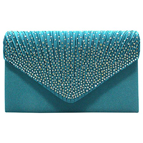 wocharm Women's Satin (TM) Lace Clutch Bag Evening Bridal Bag Wedding Fashion Prom Vintage UK (Teal Blue(1))