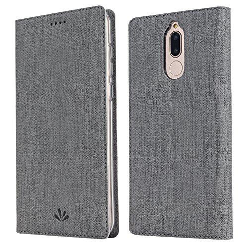 Feitenn Huawei Mate 10 lite Hülle, dünne Premium PU Leder Flip Handy Schutzhülle | TPU-Stoßstange, Kartenschlitz, Kameraschutz- und Standfunktion Brieftasche Etui (Grau)
