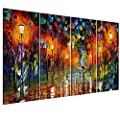 UNIQUEBELLA The lover walking on Rainy Night Street painting printed on Canvas With DIY Wooden Stretched, Poster print painting, Canvas Wall Art Pictures Prints Decor for Home Decoration, 4 pcs/set 35cm*75cm*4