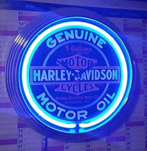 Neon Orologio Motor Oil Motor Cycles Neon Illuminazione blu officina Orologio da parete Neon Pubblicità