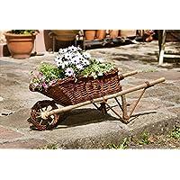 Garten Deko Schubkarre Blumenwagen Aus Holz Weide Zum Bepflanzen