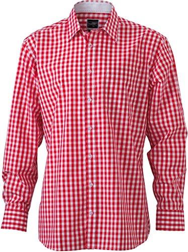 JAMES & NICHOLSON Camicia fashion a quadri con inserti a tinta unita sul colletto e polsini Red/White