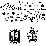 3pcs Pegatinas Pared para Aseo Lavabo Baño Vinilos Inodoro Stickers WC Frases Ingles Toilet Signo Baño Puerta Toilet Hombre M