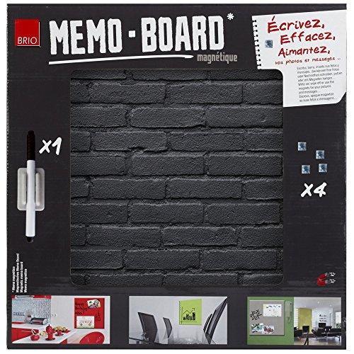 Brio 34557 MEMO Board Tableau MAGNETIQUE Pierre Noire 40X40CM, Verre, 4 x 40 x 40 cm