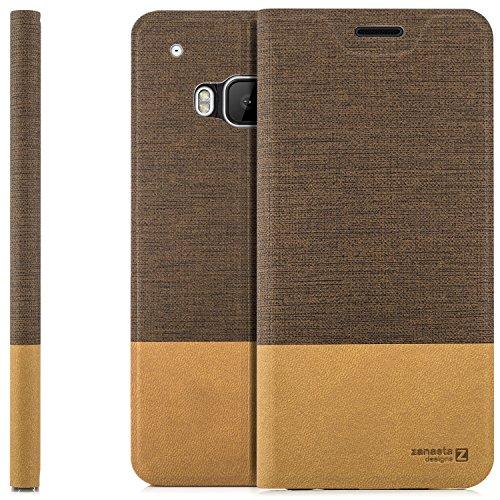 zanasta Designs Tasche HTC One M9 Hülle Flip Case Slim Schutzhülle Handytasche mit Kartenfach, Standfunktion   Hellbraun