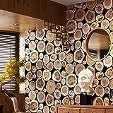 ZHAORLL Moderne chinesische holzmaserung stapel holzstumpf runde Holz tapete Wohnzimmer Schlafzimmer Hintergrund industriellen Wind tapete,98508