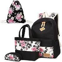 Neuleben Schultaschen 4 Set Schulrucksack + Handtasche + Federmäppchen + Turnbeutel aus Canvas für Damen Mädchen Kinder…